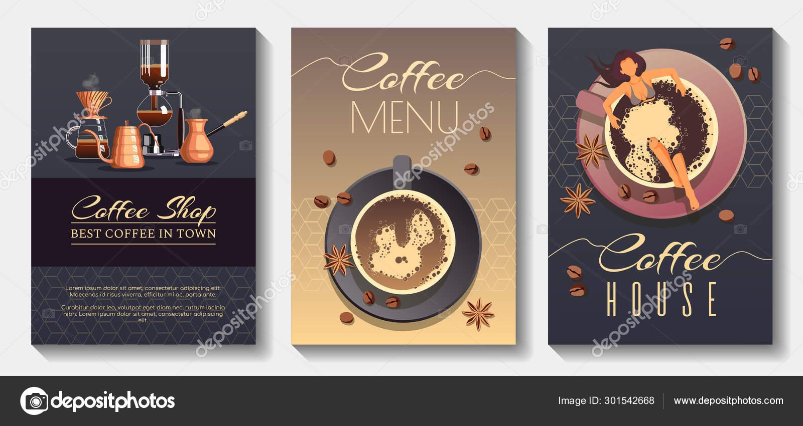 Set Flyer Poster Banner Brochure Design Templates Coffee Cafe Bar Stock Vector C Yagudinatatyana 301542668