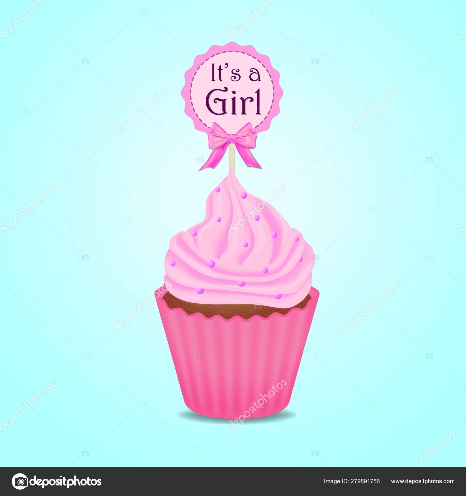 Cupcake Invitación Baby Shower Chica Vector Tarjeta Vector