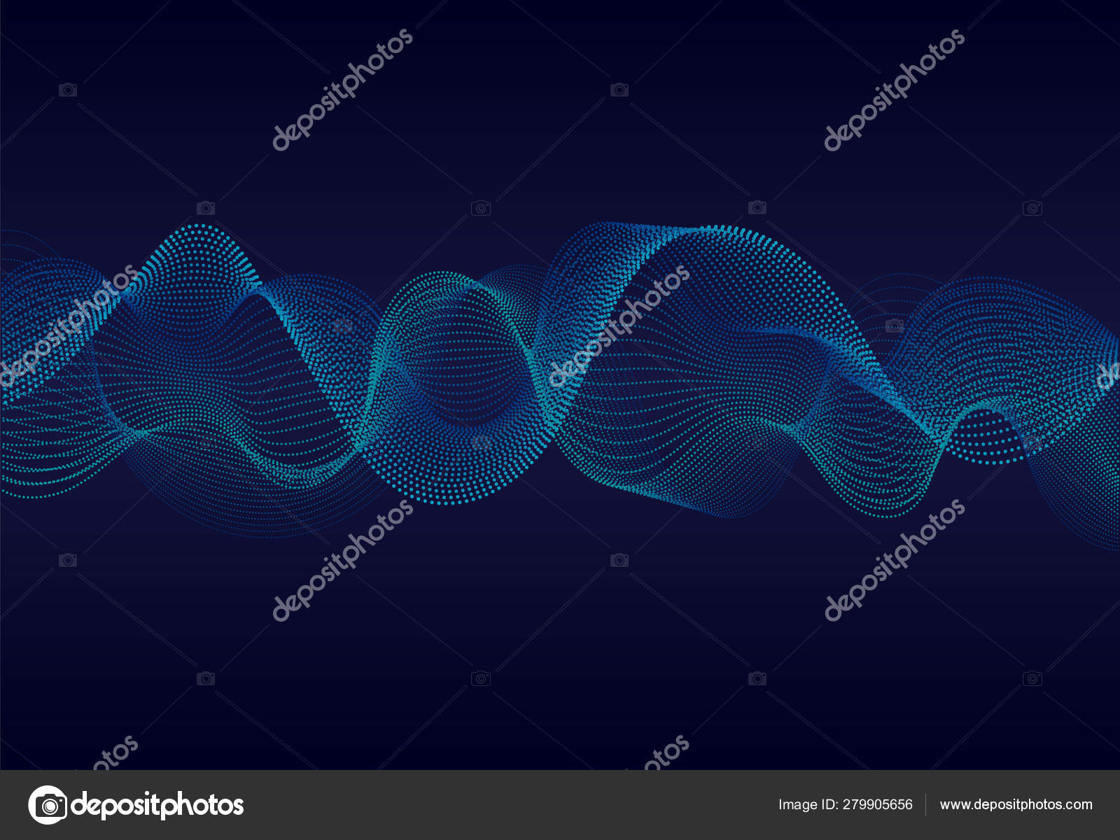 Abstract Wavy Particles Surface Dark Blue Background