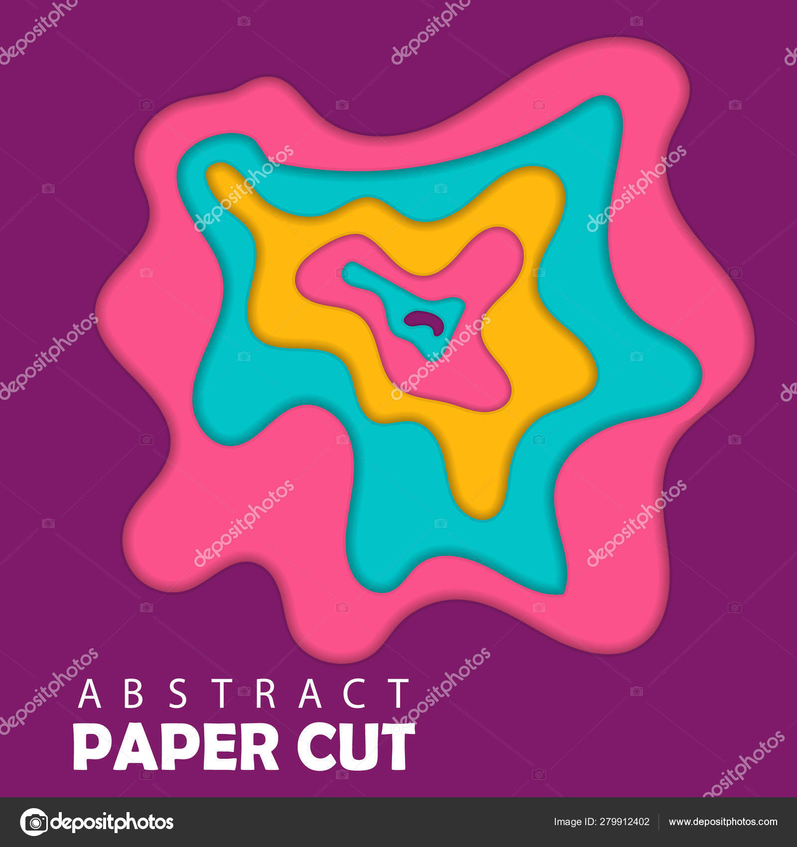 Modern Template Paper Cut Template Abstract Wave Shapes
