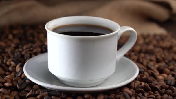 close up a cup of coffee on a white mug
