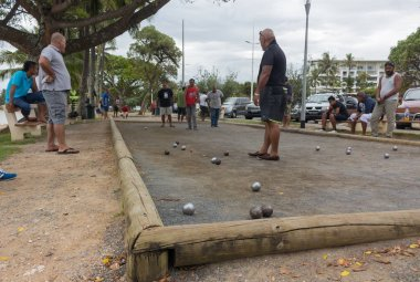 P��tanque game in Noumea.