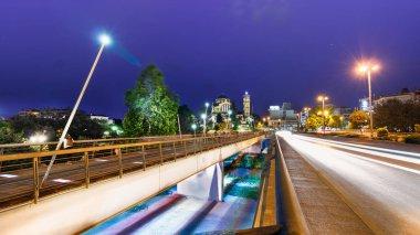 The Pinios Bridge crossing the Peneios river at night in Larissa