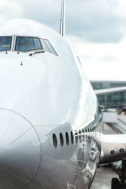 Jumbo jet nose, front view.