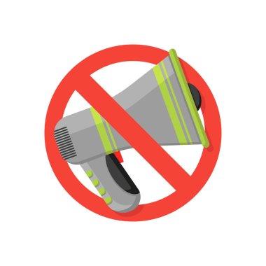 No propaganda! megaphone banned in flat style