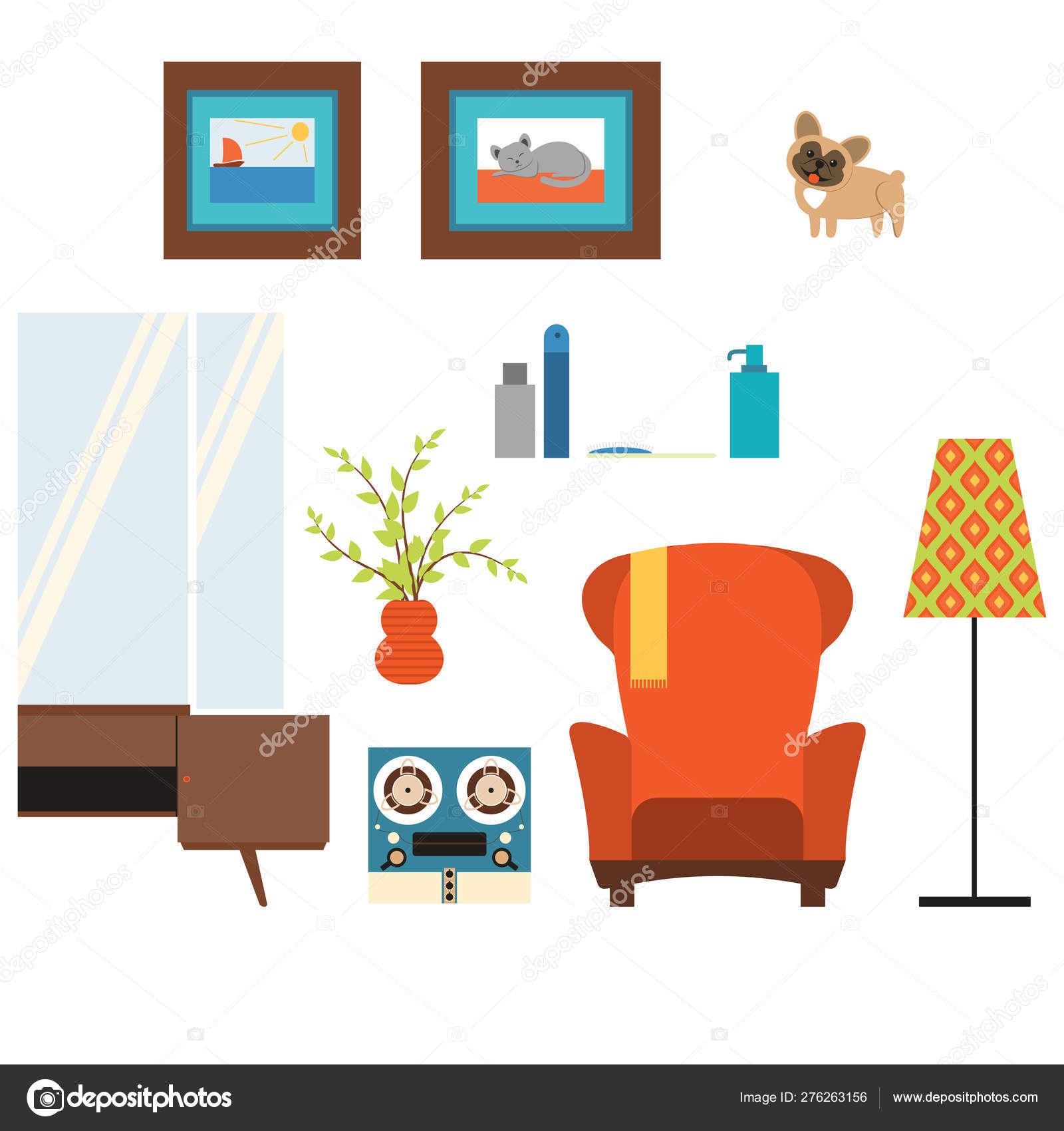 Set Of Living Room Isolated Objects In The Style Of The 70 S Stock Photo Image By C Dreamline 276263156