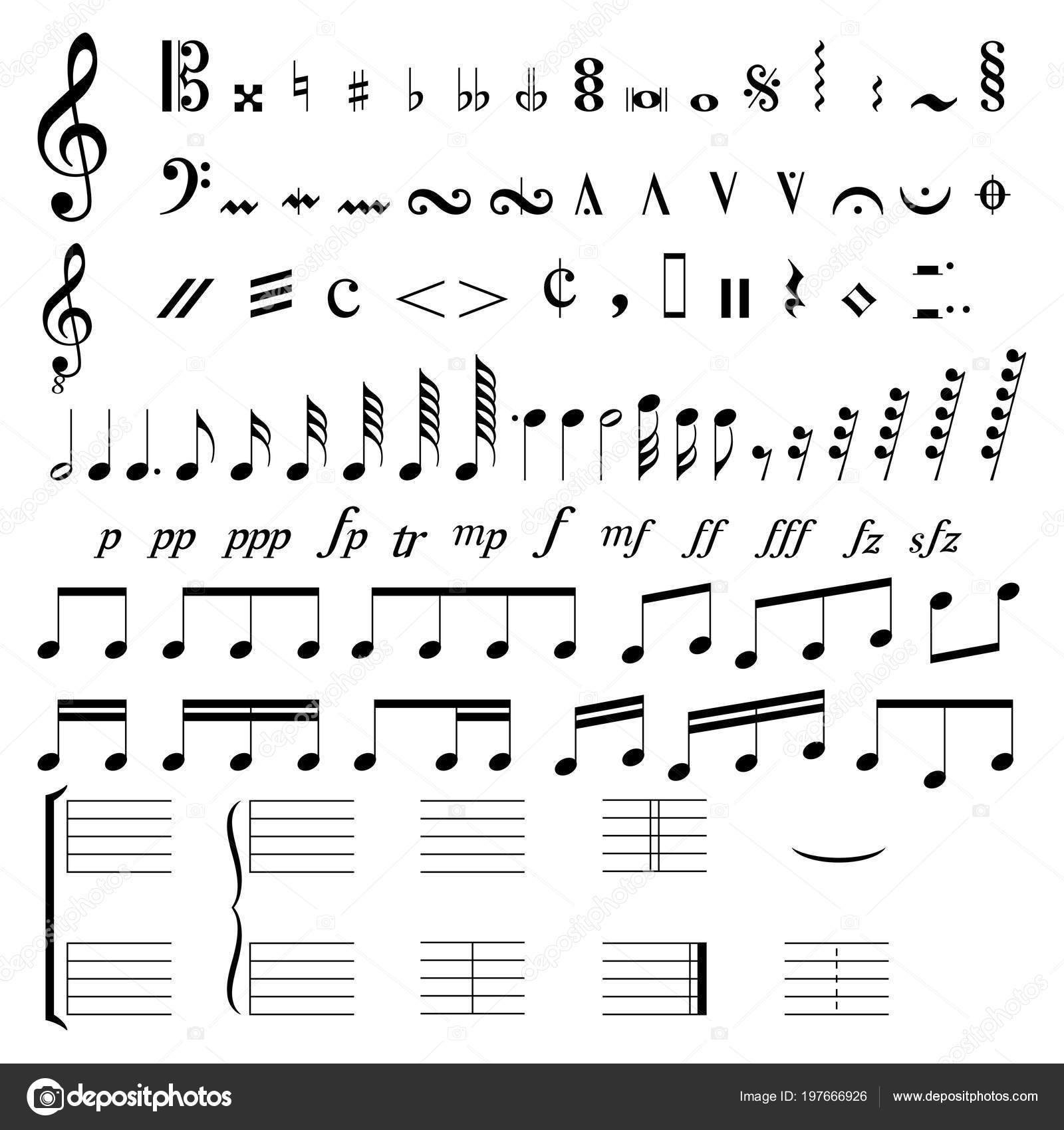 Set Musical Signs Symbols White Background Stock Vector