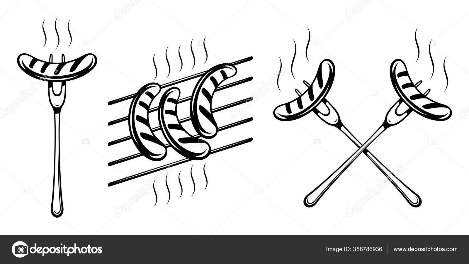 bavarian grilled sausage fork grill grate forks sausages crossed traditional stock vector c alxr 388786936 https depositphotos com 388786936 stock illustration bavarian grilled sausage fork grill html
