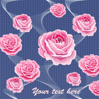 Vintage flowers set over white background. The rose elegant card. Beautiful bouquet of pink flowers and leaves. Design greeting card and invitation of the wedding, birthday. Vector illustration. Red.