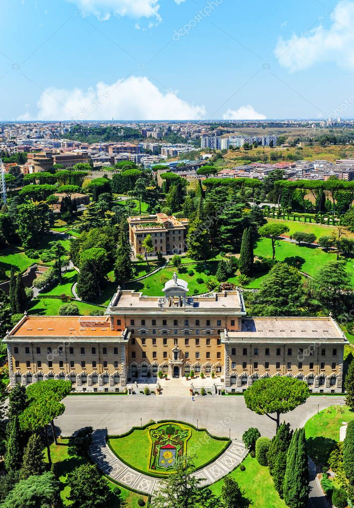 Rome, Italy - August 2017: View on Vatican gardens and the Papa's residence