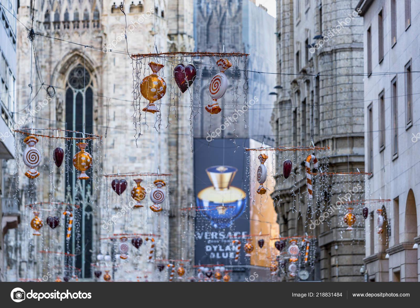 Milan Italy December 2017 Street Christmas Decorations City