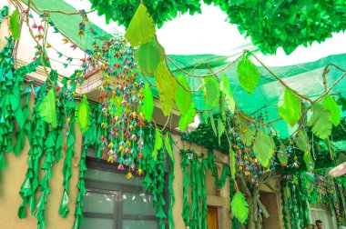 Fiesta Major de Gracia, Calle Progrs, Barcelona 2018. Calle Progrs adornado durante Fiesta Major de Gracia, Barcelona 2018