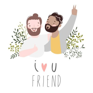 Two best friends boys laughing and hug. Vector illustration about friendship isolated on white. Happy Friendship day card Vector. clip art vector