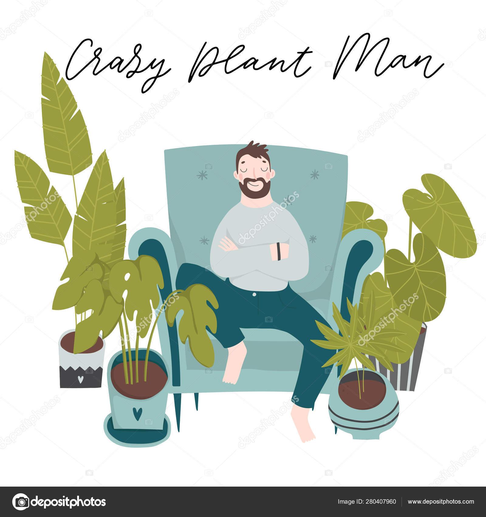 Urban Jungle Trendy Illustration Home Decor Plants Boy