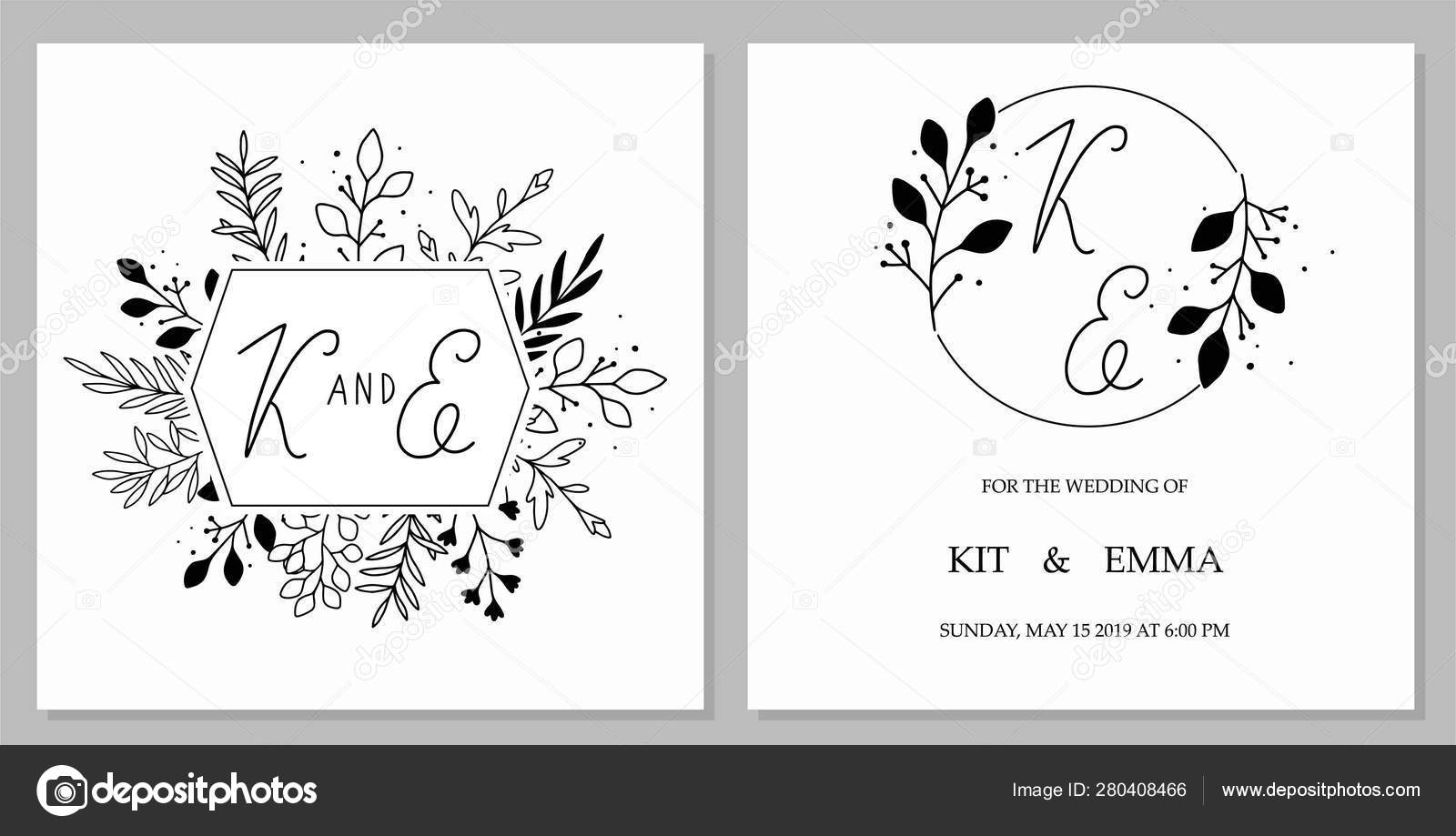 Wedding Invitation Template Concept Floral Date Card Design Black