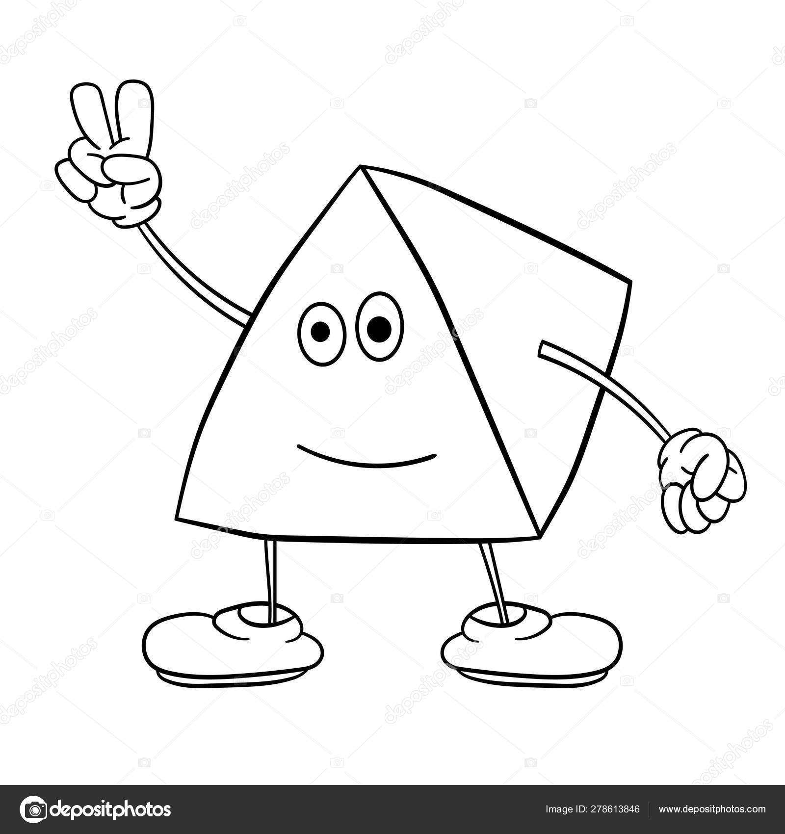 Funny triangle smiley with legs and eyes shows two fingers ...