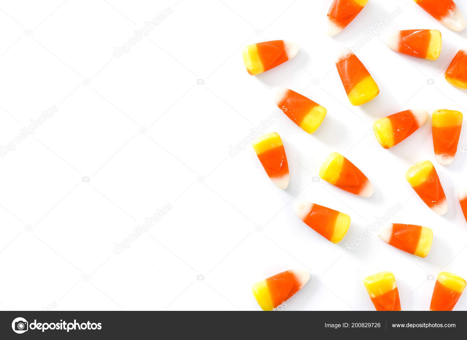 typical halloween candy corn isolated white background top view