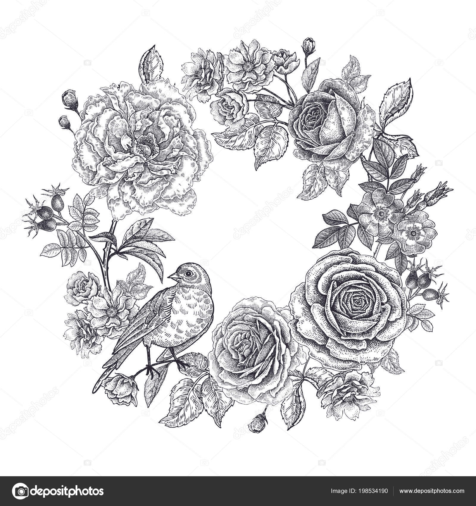 Vintage frame flowers bird print black white background roses peonies stock vector