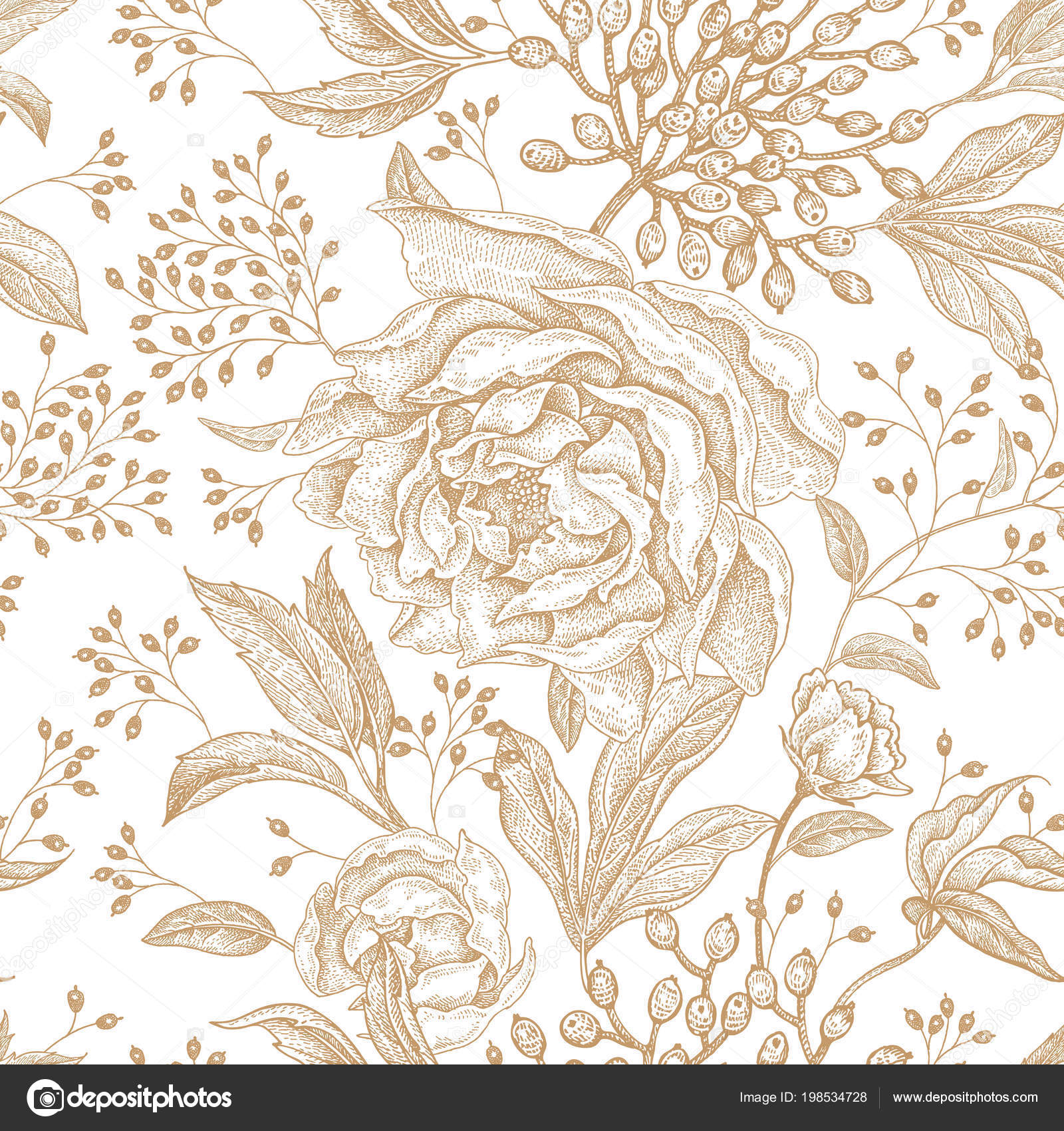 Peonies Roses Floral Vintage Seamless Pattern Gold Flowers Leaves