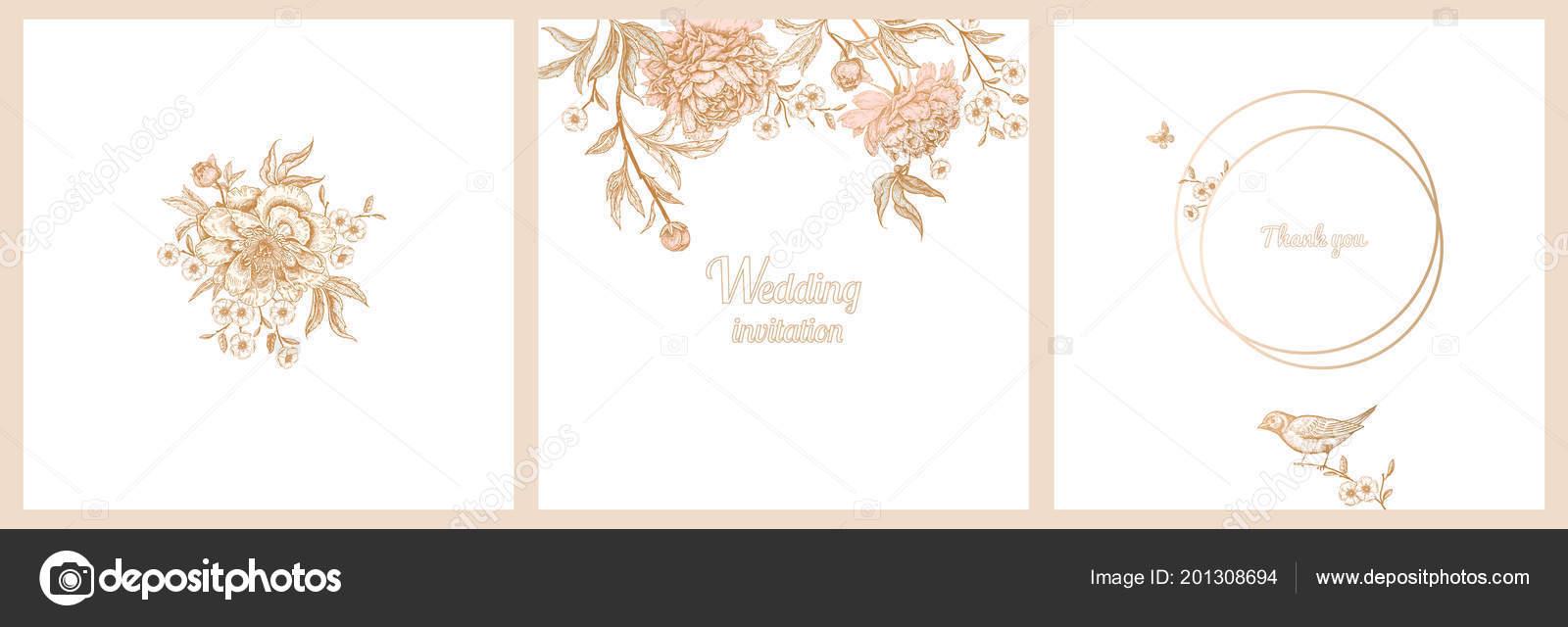 templates wedding invitations set decoration birds garden flowers