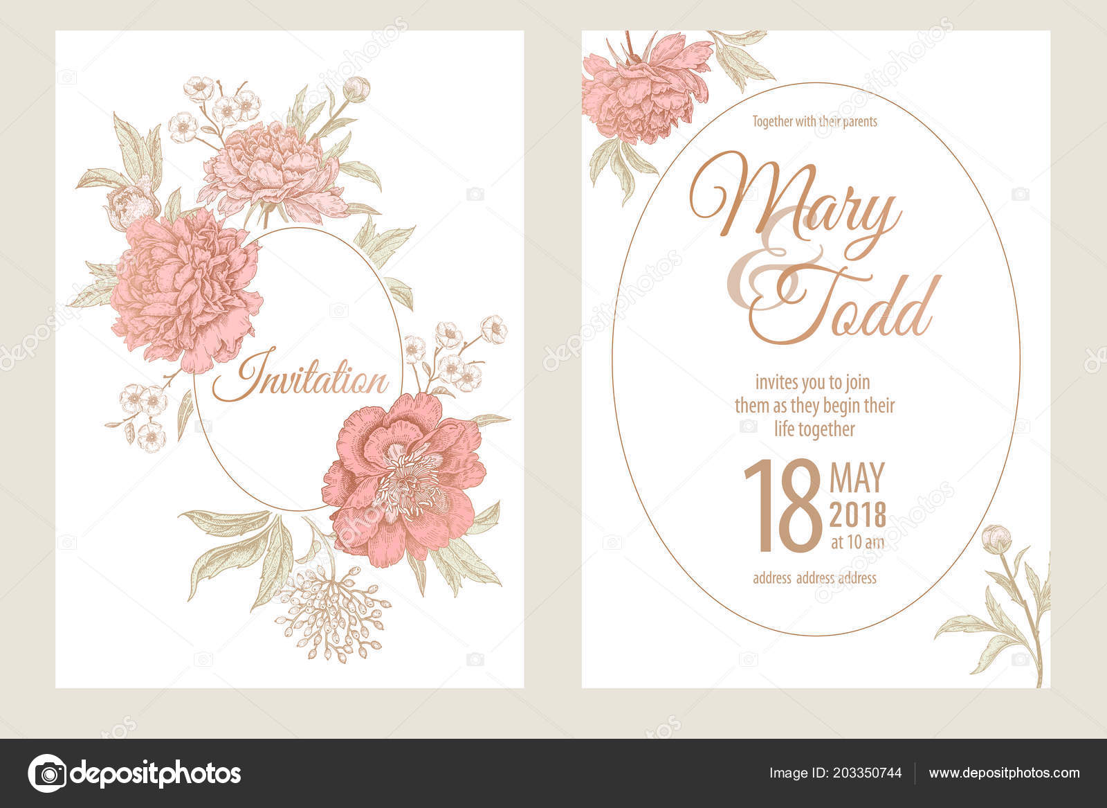 Vorlagen Fur Hochzeitskarten Einladungen Dekoration Mit Gartenblumen