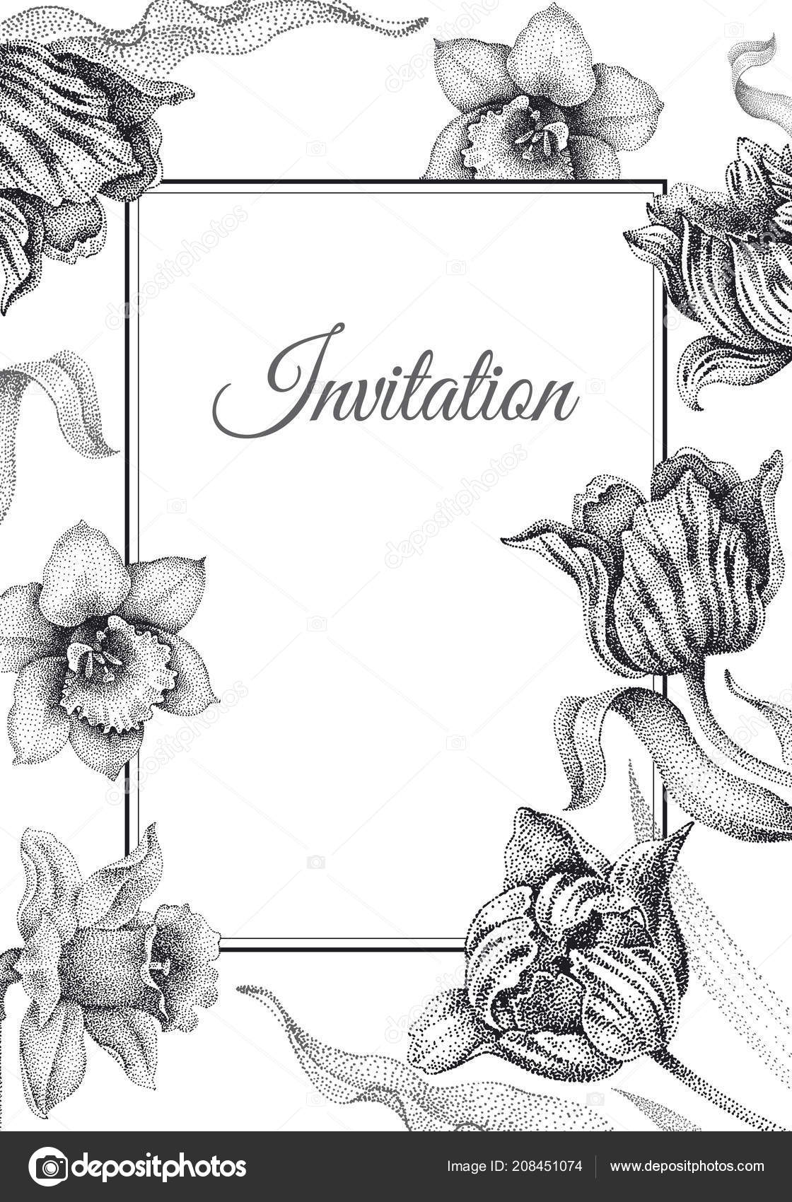 Wedding Invitations Cards Templates Decoration Garden Flowers ...