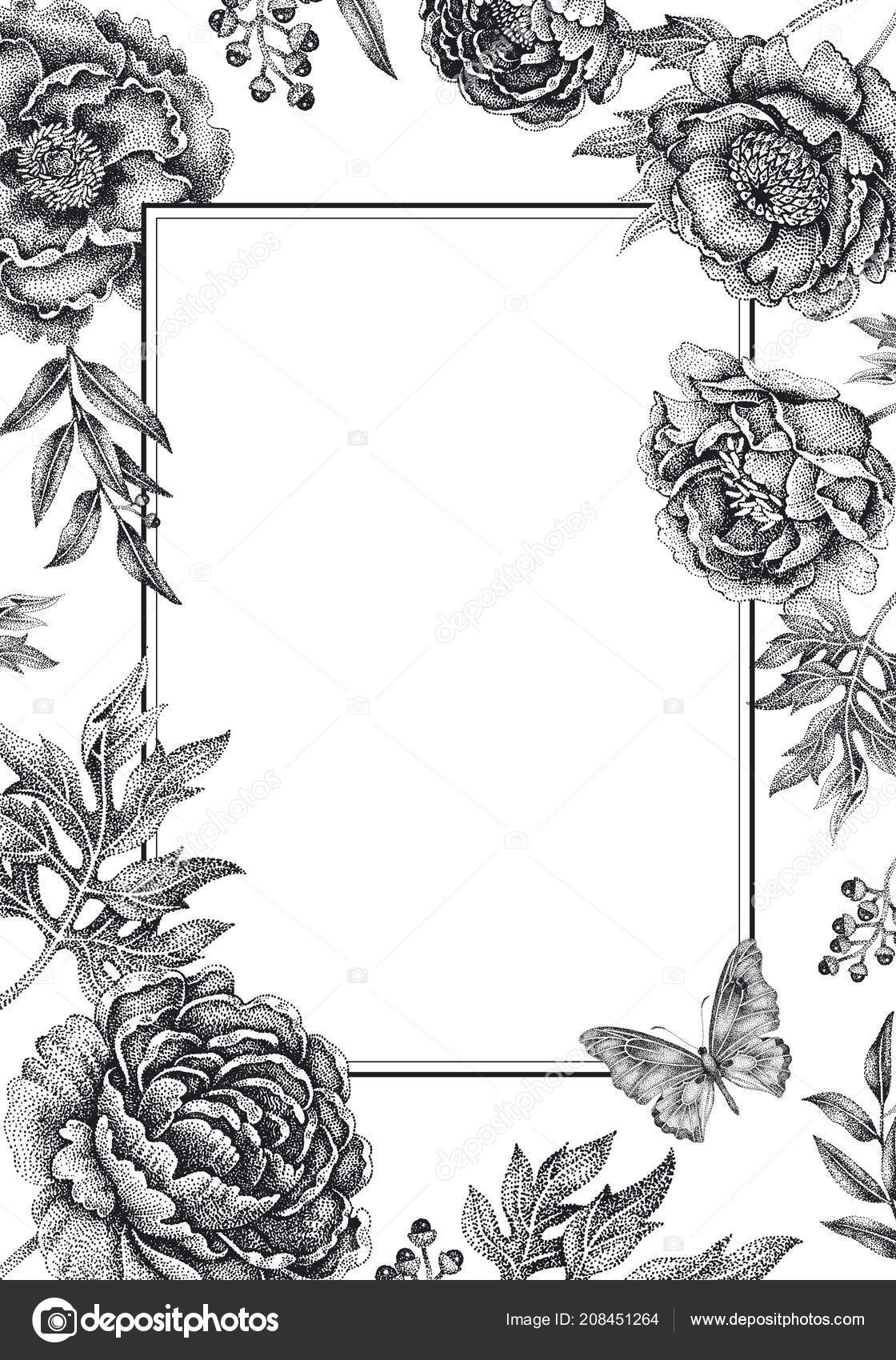 Wedding Invitations Cards Templates Decoration Garden Flowers Frame