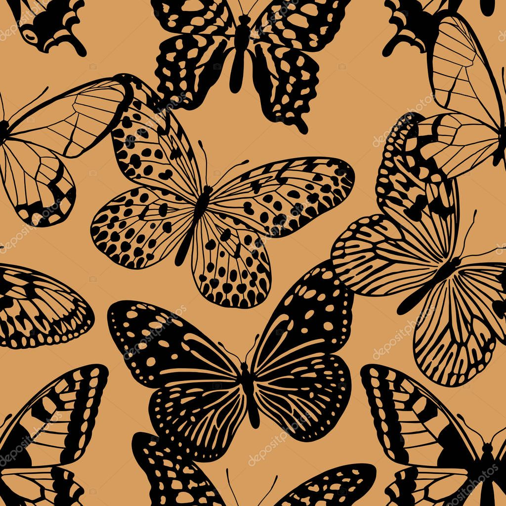 Golden graphic abstract butterflies. Seamless pattern for designer fabrics, textiles, prints pillows, summer bags, luxury fashion clothes. Vector abstract background. Print gold foil and black color