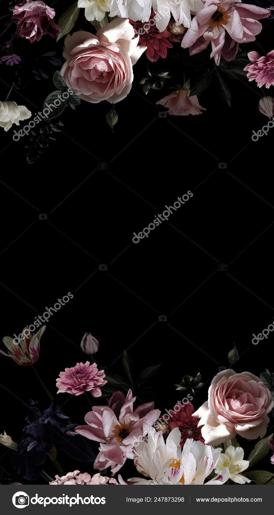 Garden Flowers Floral Decoration Black Background Text Frame