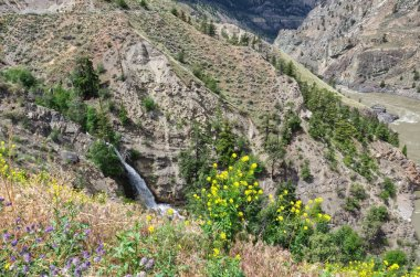a mountain waterfall in Scenic desert canyon of muddy Fraser river in summer, Lillooet, British Columbia, Canada