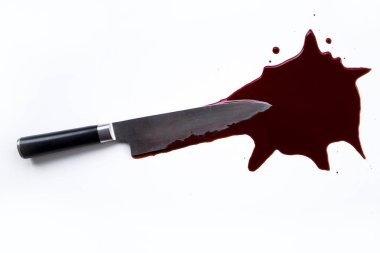 Blood stain and knife. Crime.