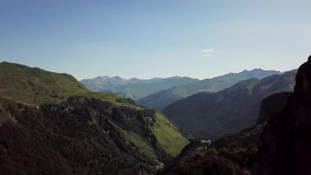 view of Pyrenees mountains with blue sky