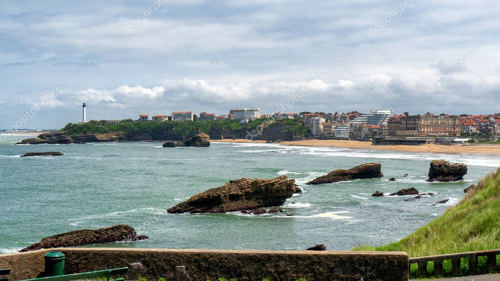 a view of Biarritz beach under cloudy sky, France