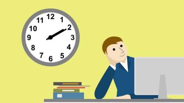 unavený podnikatel v kanceláři, čas plyne