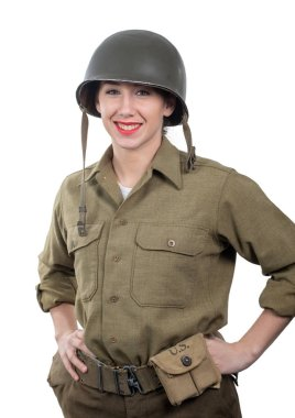 pretty young woman dressed in ww2 american military uniform with