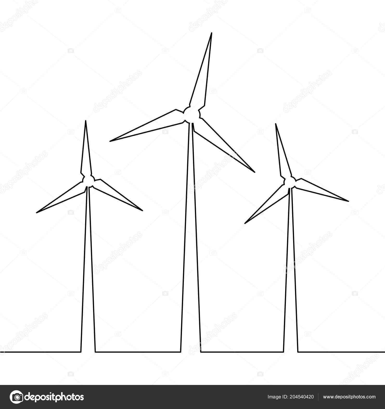 Continuous One Line Drawn Wind Turbine Alternative Energy Concept Diagrams Symbol Stock Vector