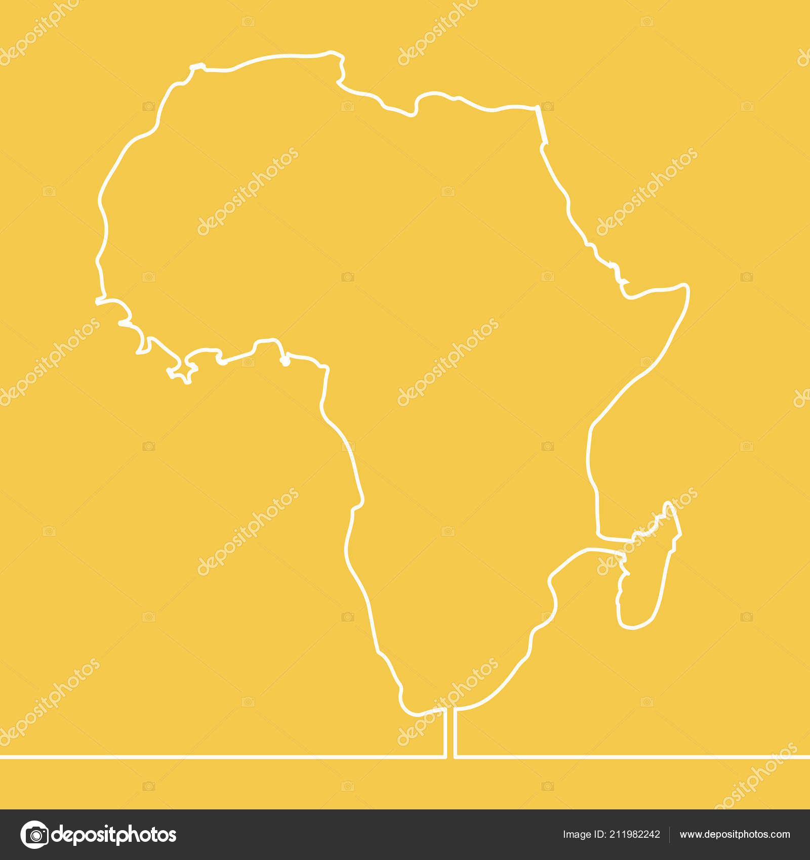 Map Of Africa Drawing.Continuous Line Drawing Map Africa Vector Illustration Stock