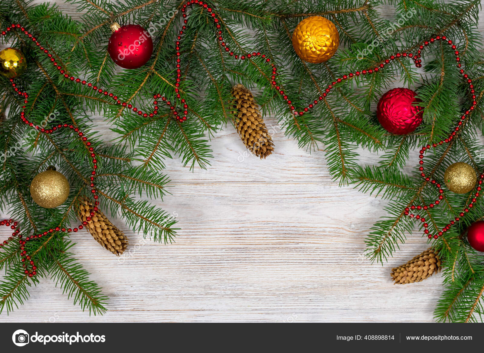 Christmas Tree With Decoration On A White Wooden Background View From Above Place For An Inscription New Year Christmas Stock Photo C Nataliiakozynska 408898814