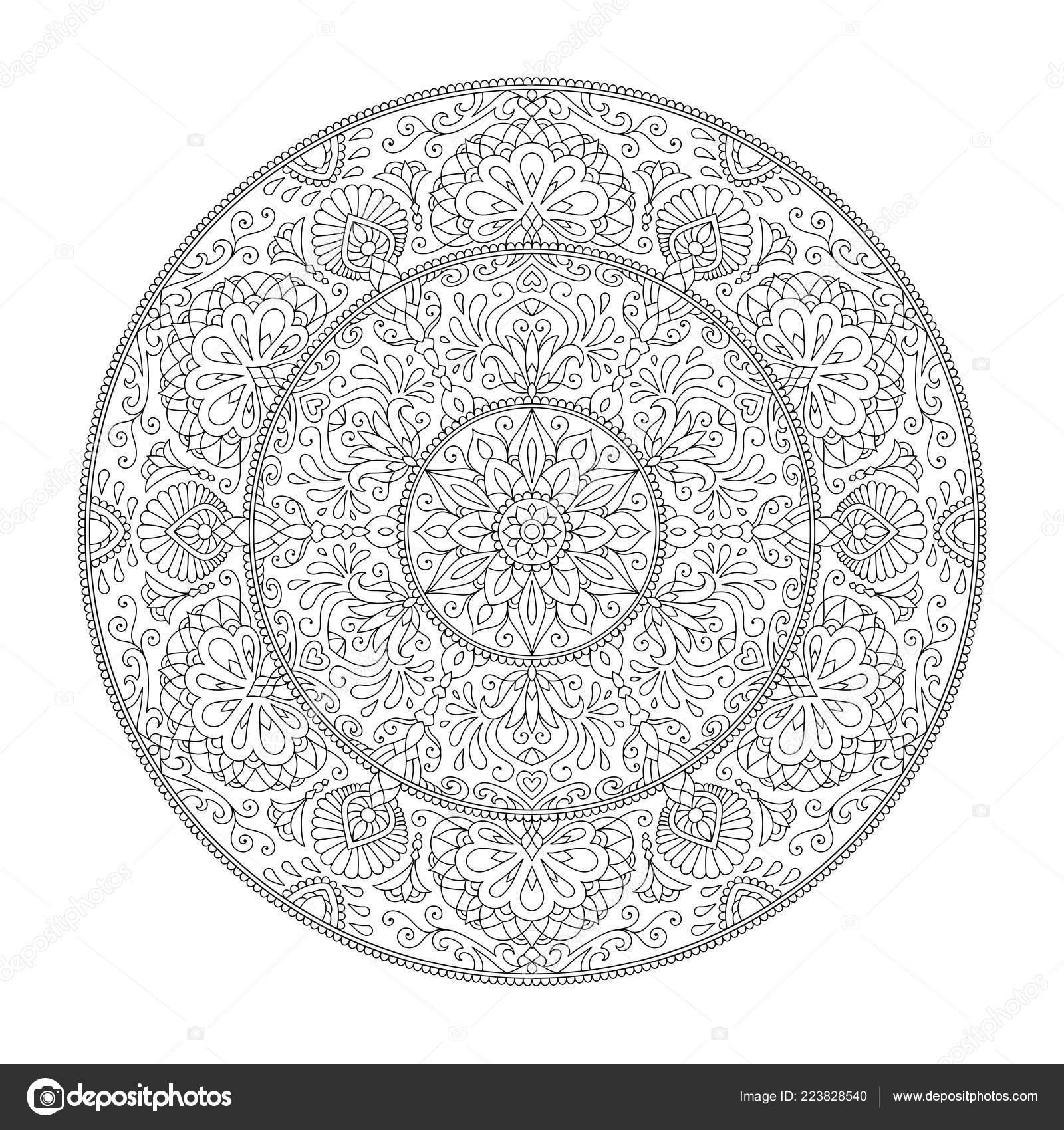 Mandala Sayfa çiçek Tasarım öğesi Için Yetişkin Renk Kitap Boyama