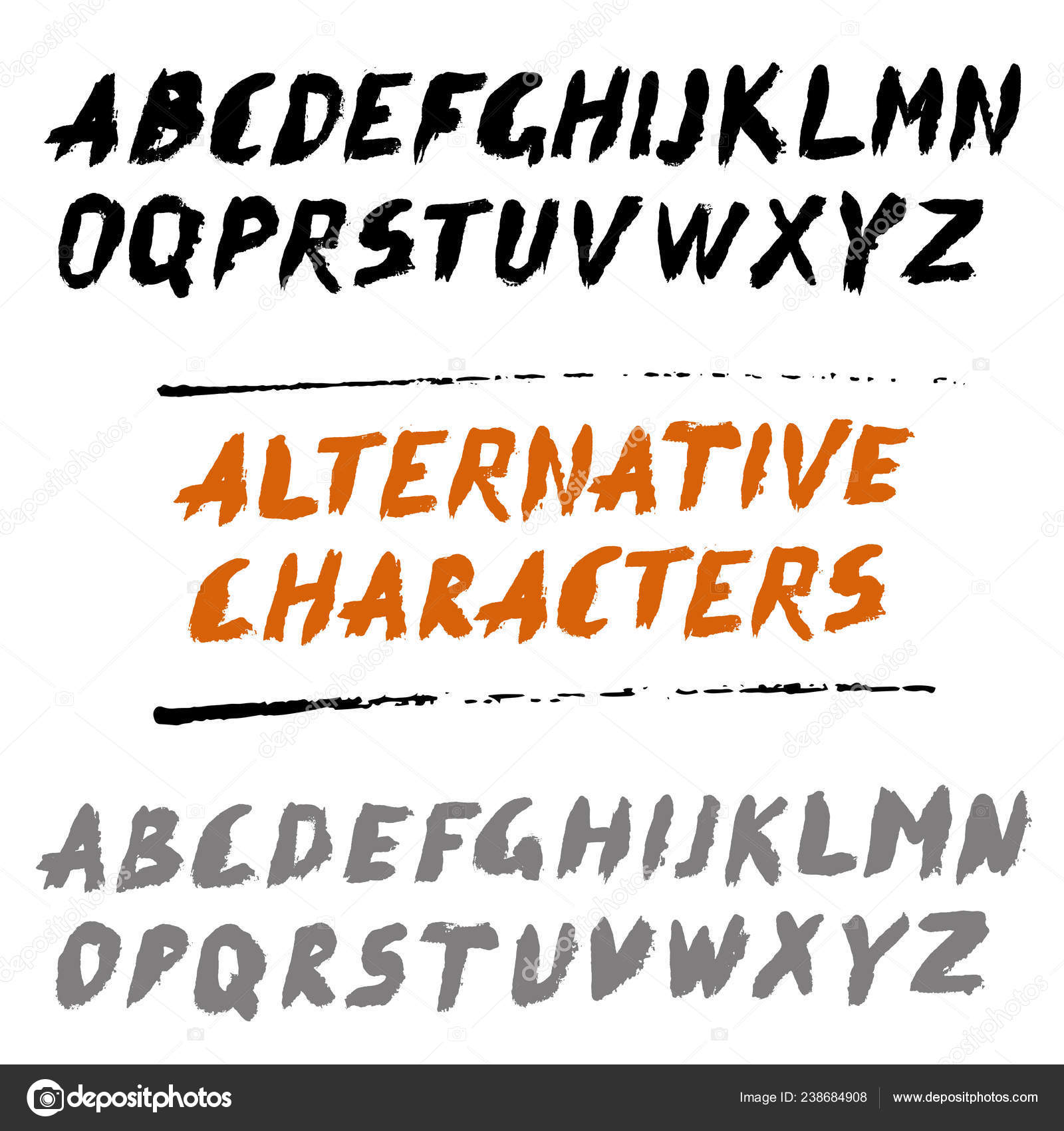 Brush Font Uppercase Letters Hand Written ABC with