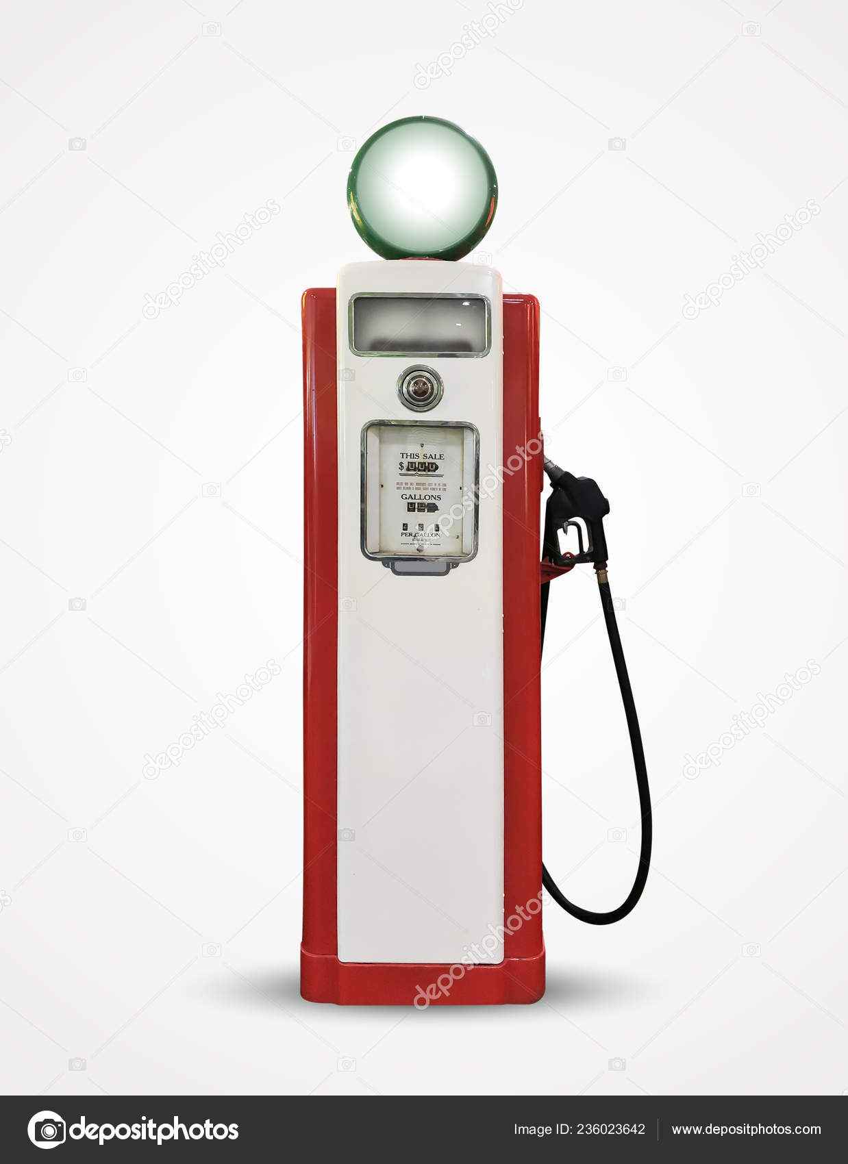 Old Vintage Gasoline Petrol Pump Isolated Plain Background