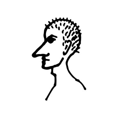 Half face silhouette. Vector hand drawn ink illustration. Peoples head side view. Simple line art portrait icon