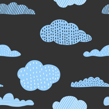 Cute hand drawn clouds, childish print. Best for t-shirt, poster, wrapping paper, decoration. Vector illustration in scandinavian style.