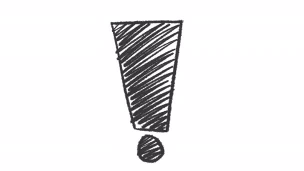 Hand drawn ink exclamation sign animation with alpha channel, motion graphics.