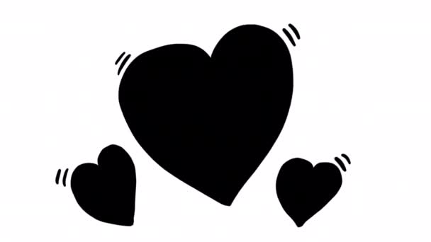 Hand drawn heart animation with alpha channel, motion graphics.