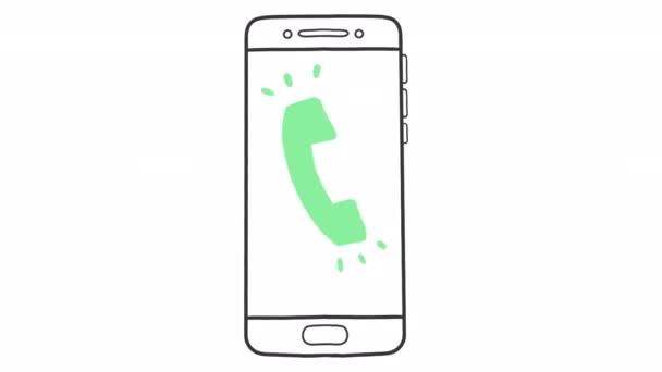 Kézzel rajzolt telefon hívás animáció alfa csatorna, mozgás grafika.