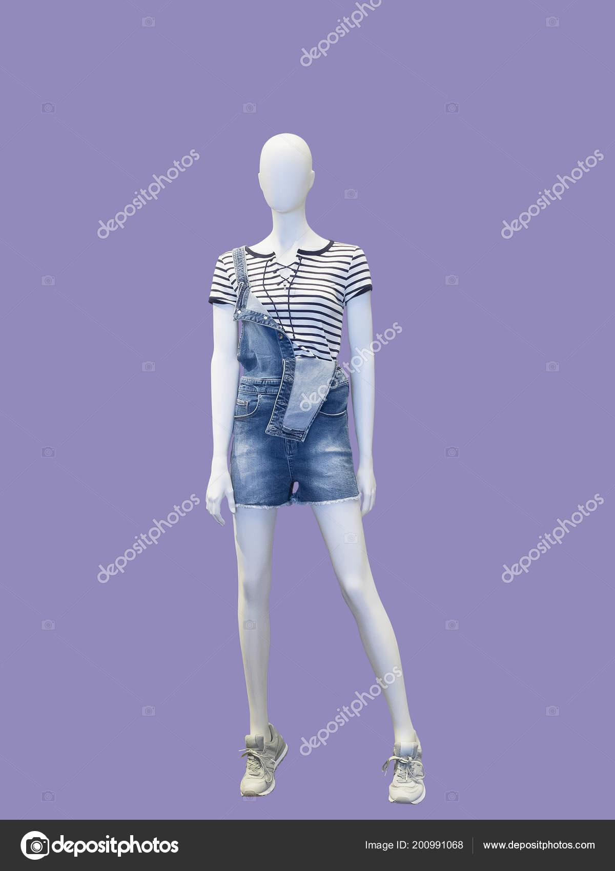 Full Length Female Mannequin Dressed Overalls Shirt Isolated