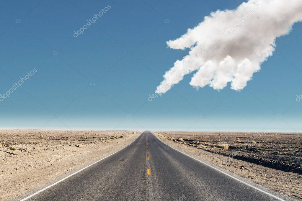 choose your way concept with cloud hand points on empty road in desert at blue sky background. 3d rendering
