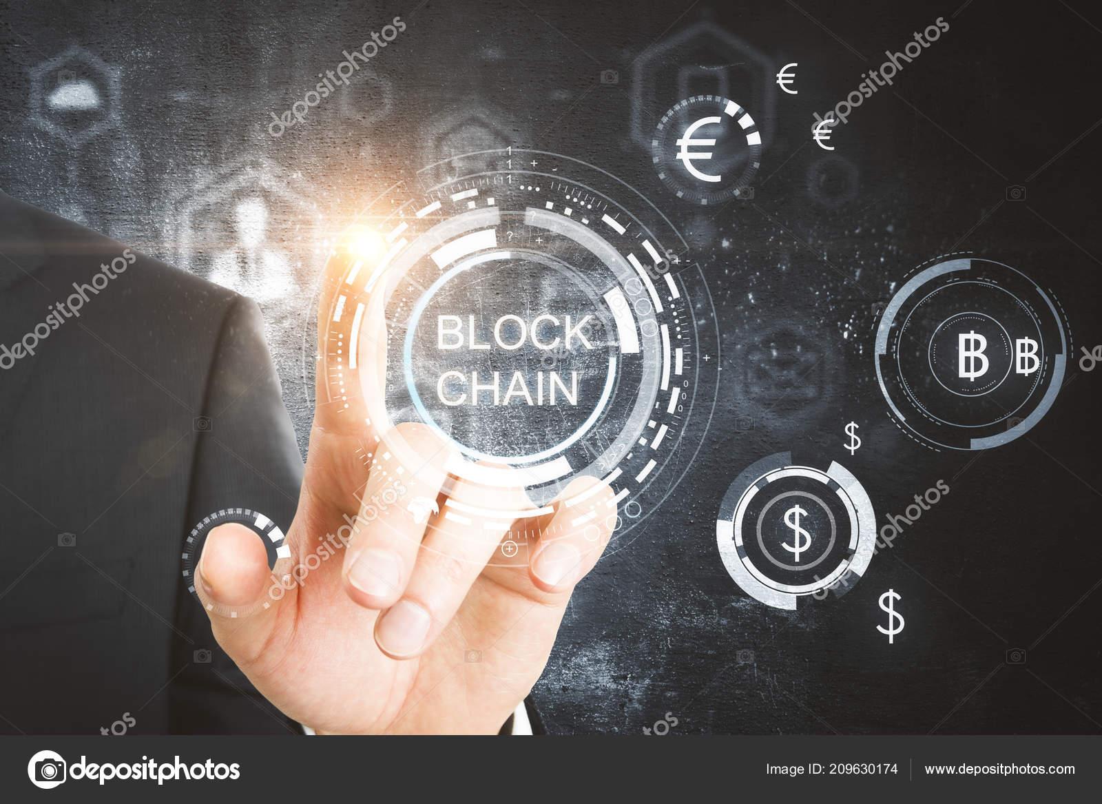 Hand Pointing Digital Blockchain Interface Online Money Concept