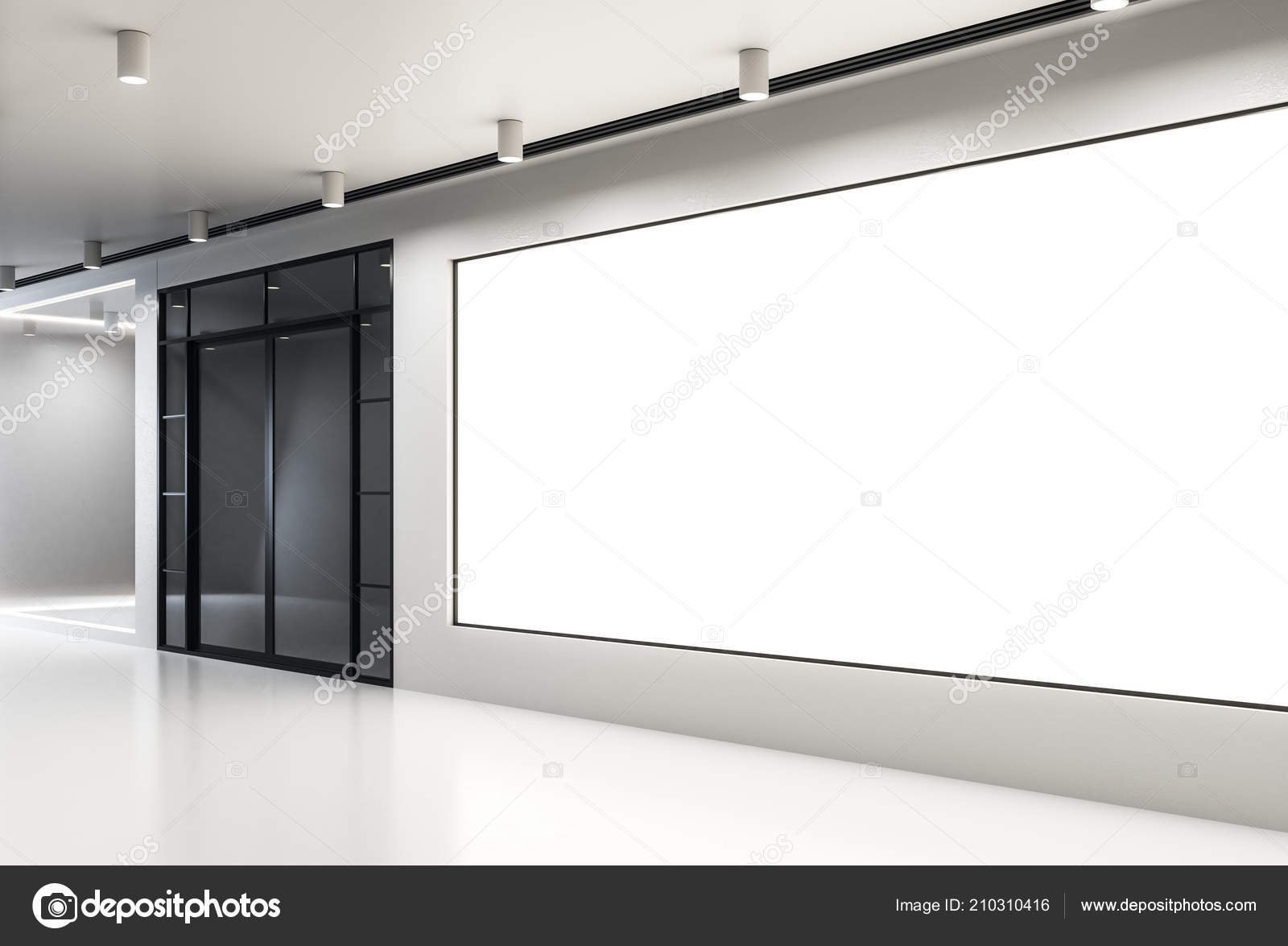 Empty Billboard Modern Concrete Interior Gallery Museum Concept Mock